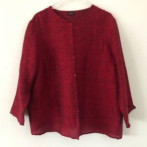 Eileen Fisher Linen Ruby Red Blouse,  Women's XL